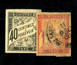 FRENCH COLONIES #J10 MINT NG HR J22A USED FVF Cat $40