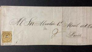 L) 1875 ECUADOR, LATACUNGA, UN REAL, YELLOW, COAT OF ARMS, CIRCULATED COVER IN E