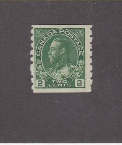CANADA (MK644) # 128 FVF-MNH  2cts  KGV ADMIRAL COIL ISSUE/GREEN  CAT VALUE $75