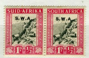 SOUTH WEST AFRICA; 1930s early Voortrekker issue Mint hinged 1d. pair