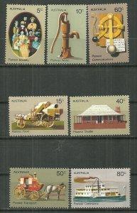 1972 Australia 532-8 Pioneer Life C/S of 7 MNH