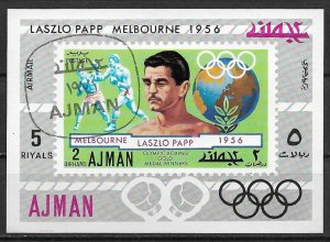 1971 Ajman Mi:AJ 1055A Laszlo Papp 1956 Olympic Boxing Gold medalist CTO