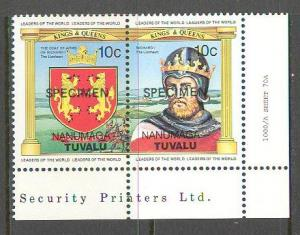 TUVALU NANUMAGA Sc# 23a MNH FVF PAIR Specimen OVPT Coat Arms