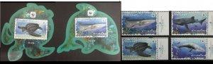 Thailand 2019 fauna  wwf marine life turtles whales set+2s/s MNH