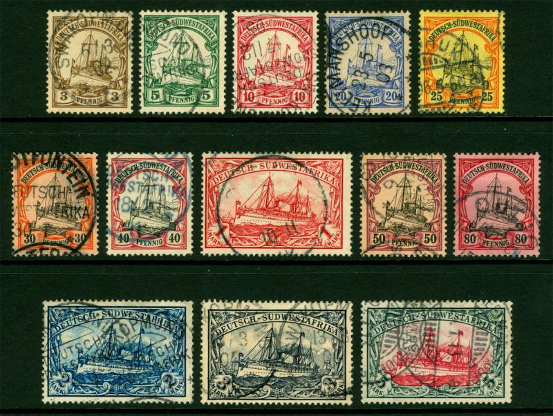 German Colonies - SOUTH WEST AFRICA 1900 Kaiser's YACHT set Sc# 13-25  USED /O