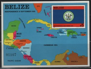 BELIZE  600, SOUVENIR SHEET, HINGED REMNANT,1981-82 Independence 21st September