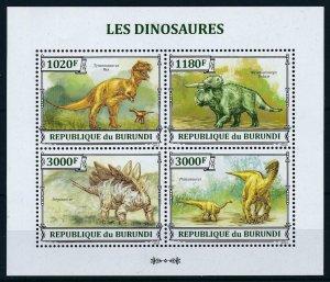 [106114] Burundi 2013 Prehistoric animals dinosaurs Stegosaurus Sheet MNH