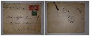 O) 1900 CUBA - SPANISH ANTILLES, ROYAL PALM 2c, COLUMBUS 10c, FROM CIENFUEGOS