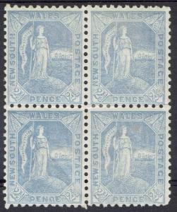 NEW SOUTH WALES 1890 FIGURE 21/2D BLOCK PERF 11 X 12
