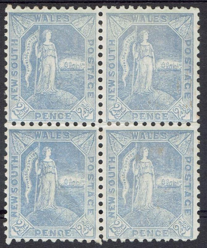 NEW SOUTH WALES 1890 FIGURE 21/2D BLOCK PERF 11 X 12