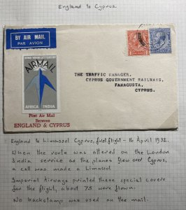 1932 London England airmail First Flight Cover FFC To Famagusta Cyprus 75 Flown