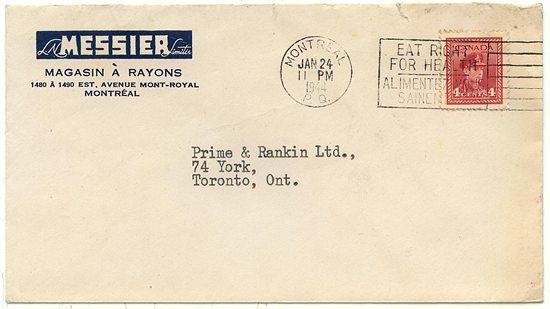 Canada #254 4c Carmine War Tied By Montreal/P.Q./ JAN.24/1944/Eat Right