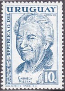Uruguay # 641 mnh ~ 10¢ Gabrela Mistral, Poet