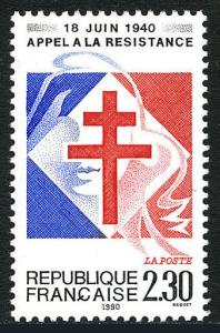 France 2225, MNH. De Gaulle's Call for French Resistance, 50th anniv. 1990