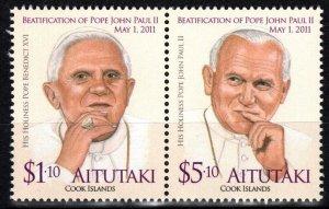 Aitutaki MNH 580 Pope John Paul II 2012 SCV 10.50