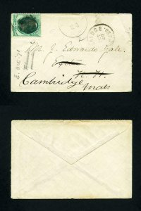 # 147 on cover Exeter, NH to Exeter, NH forwarded to Cambridge, MA - 9-24-1871