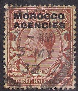 Morocco Agencies 1925 KGV 1 1/2d Brown used SG 56 ( R907 )
