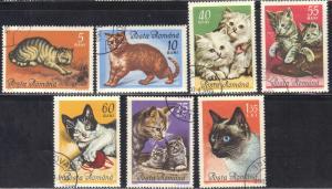 ROMANIA  SCOTT# 1729-35  1965 CTO  CATS  SEE SCAN