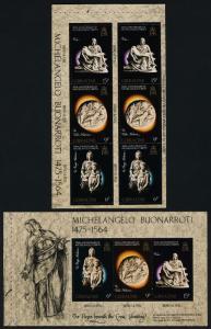 Gibraltar 328b,c Booklet Panes MNH Michelangelo, Sculpture, Art
