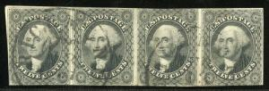 UNITIED STATES SCOTT#17 HORIZONTAL STRIP OF FOUR USED W/CREASE--SCOTT $1150.00