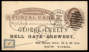 USA 1887 Postal Stationery Advertising Card Ehrets Hell Gate Beer Brewery 87709