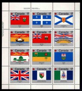 Canada Scott 821-832a MNH** 1979 Territory and Provincial Flag sheet
