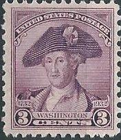 US 708 (mlh) 3¢ Washington portrait by Peale, dp vio (1932)