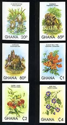 GHANA SCOTT# 782-7 WILDLIFE FLOWERS IMPERF SET MNH