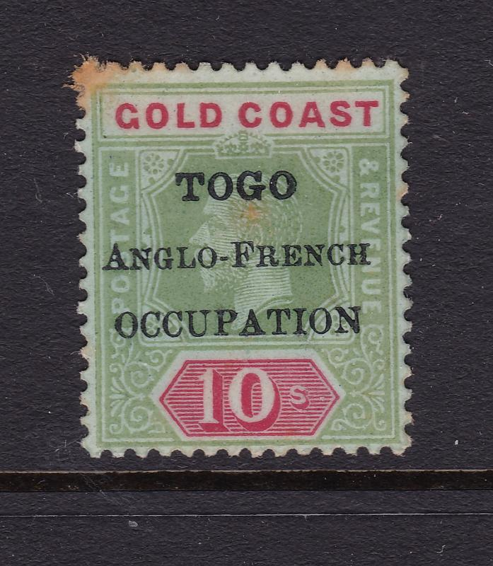 Togo an Anglo French Occ overprint on a 10/- Gold Coast MNG