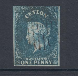 Ceylon SG 2, Sc 3 used. 1857 1p deep turquoise blue imperf QV on white paper