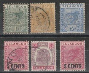 Malaya Selangor 1891-99 Tiger 4V Used & 2V Mint M1562