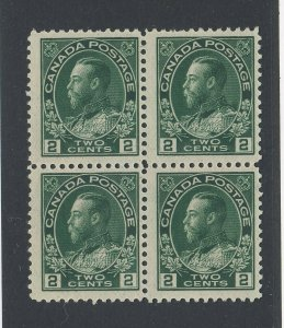 4x Canada MNH Admiral Stamps Block 0f 4 #107-2c MNH F/VF Guide Value= $150.00+