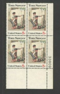 1470 Tom Sawyer By Norman Rockwell Plate Block Mint/nh (Free Shipping)