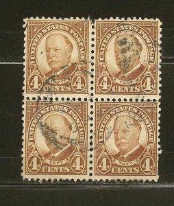 USA 687 Taft Block of 4 Used