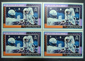 GRENADA 1969 SC#328 SG#348 Astronaut Handling Moon Rock Block x 4 MNH