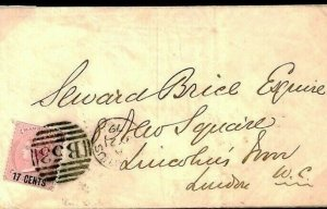 MAURITIUS SG.87 Cover 17c Commercial Usage London WC & EC Missent? 1879 W175a