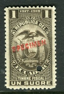 ECUADOR; Early 1917 fine Fiscal issue Mint MNH unmounted SPECIMEN 1s.