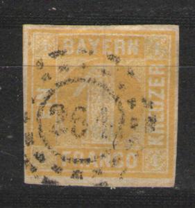 German States - Bayern 1862 Sc# 9 Used G/VG Solid copy 4 margins