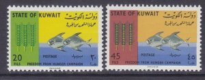 Kuwait 310-11 MNH 1966 Freedom From Hunger Wheat & Fish Set Very Fine
