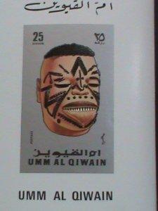 UMM AL QIWAIN AIR MAIL STAMP: AFRICAN MASK SERIES-25 DIRHAMS IMPERF:-MNH S/S. #8