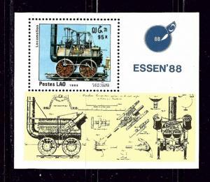 Laos 855 MNH 1988 Locomotive S/S