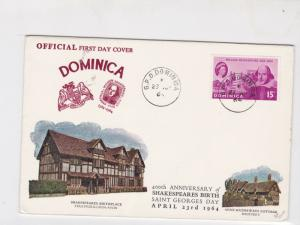 Dominica 1964 400th anni. of shakespeares birth fdc stamps cover ref 21466