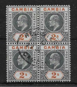 GAMBIA SG54 1902 2/= DEEP SLATE & ORANGE USED BLOCK OF 4