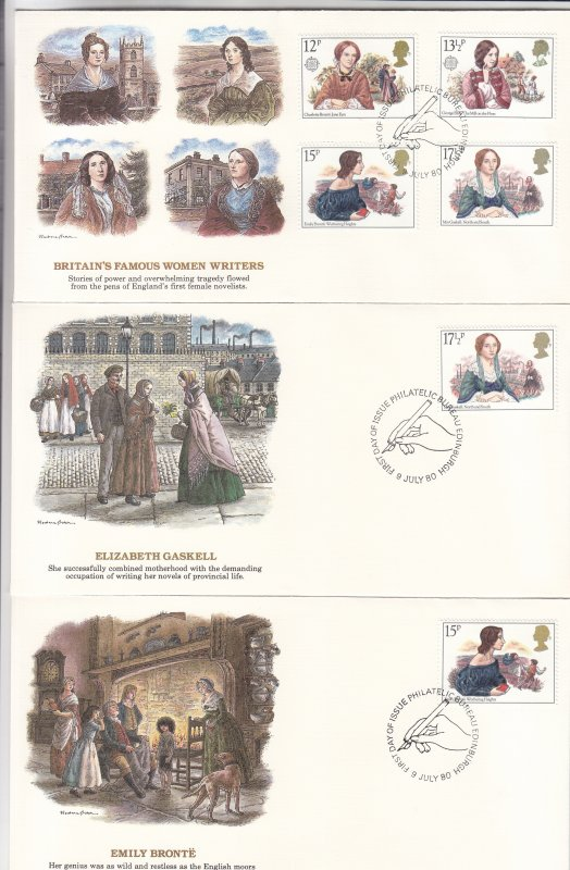 1980, Great Britain: Famous Women Writers, Grp 5, FDC (S18764)