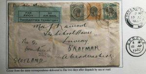 1932 Lindi Tanganyika Early Unofficial Airmail Cover To Braemar Scotland