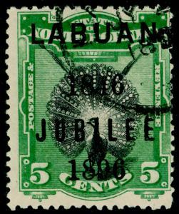 LABUAN SG86c, 5c black & green, FINE USED. Cat £22.