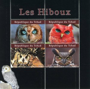Chad Birds of Prey on Stamps 2020 CTO Owls Owl 4v M/S