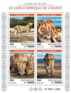 NIGER 2015 SHEET LIONS WILD CATS FELINES WILDLIFE nig15625a