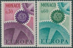 Monaco 1967 SG890-891 Europa cogwheels set MNH