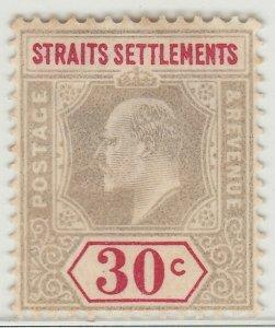 MALAYA SINGAPORE 1902 STRAITS KE VII 30c MH wmk CrownCA SG #117 M1411